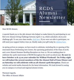 Alumni Newsletter - May 2018