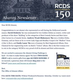 Alumni Newsletter - April 2019